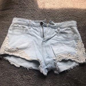Denim shorts white side lace trim